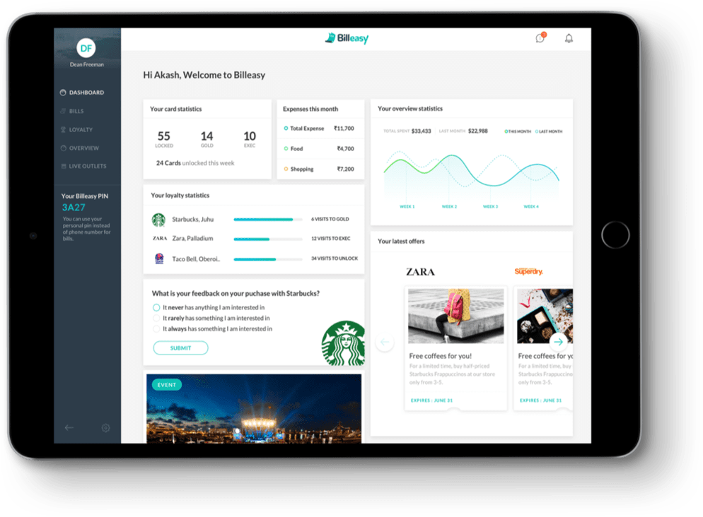 iPad Billeasy Dashboard